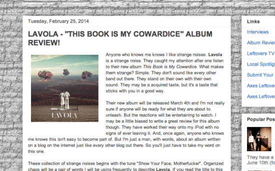 "LAVOLA – ""This Book is My Cowardice"" Album Review"