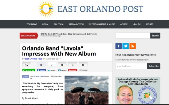 "East Orlando Post: ""Lavola"" Impresses With New Album (Rating 5/5)"